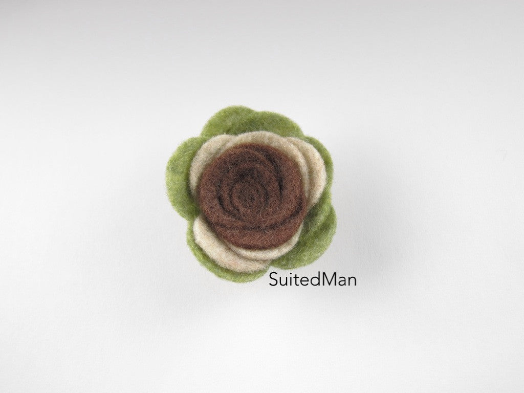 Lapel Flower, Felt, Colorblock, Camo Brown/Burlap/Green - SuitedMan