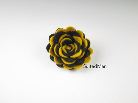 Lapel Flower, Felt, Two Tone, Black/Old Gold Colorway