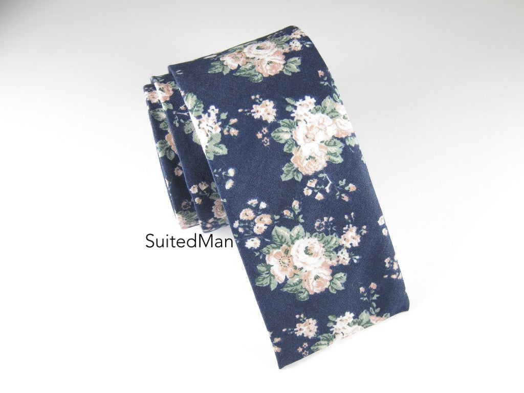 Floral Tie, Vintage Bloom, Flat End - SuitedMan