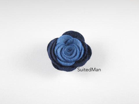 Lapel Flower, Felt, Colorblock, Shades of Blue