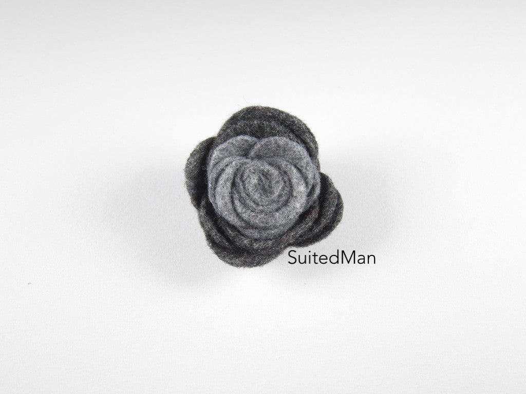 Lapel Flower, Felt, Colorblock, Shades of Grey - SuitedMan