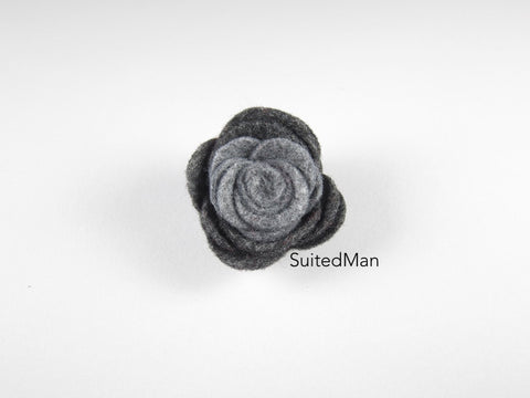 Lapel Flower, Felt, Colorblock, Shades of Grey