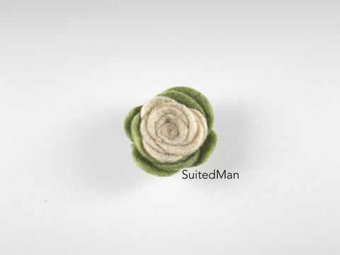 Lapel Flower, Felt, Colorblock, Olive Green/Burlap