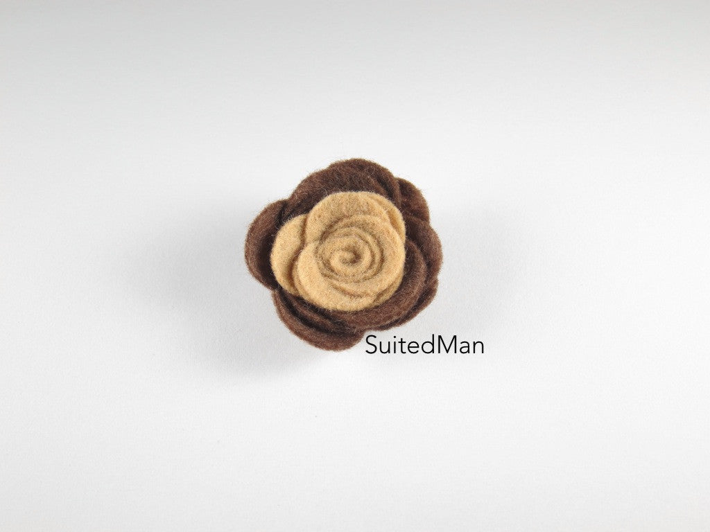 Lapel Flower, Felt, Colorblock, Shades of Brown - SuitedMan