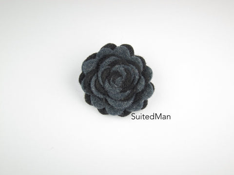 Lapel Flower, Felt, Two Tone, Black/Dark Grey Colorway