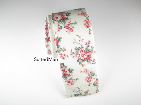 Floral Tie, White Vintage Bloom, Flat End
