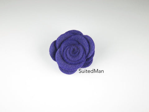 Lapel Flower, Felt, Rose, Purple