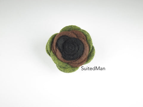 Lapel Flower, Felt, Colorblock, Camo Black/Brown/Green - SuitedMan
