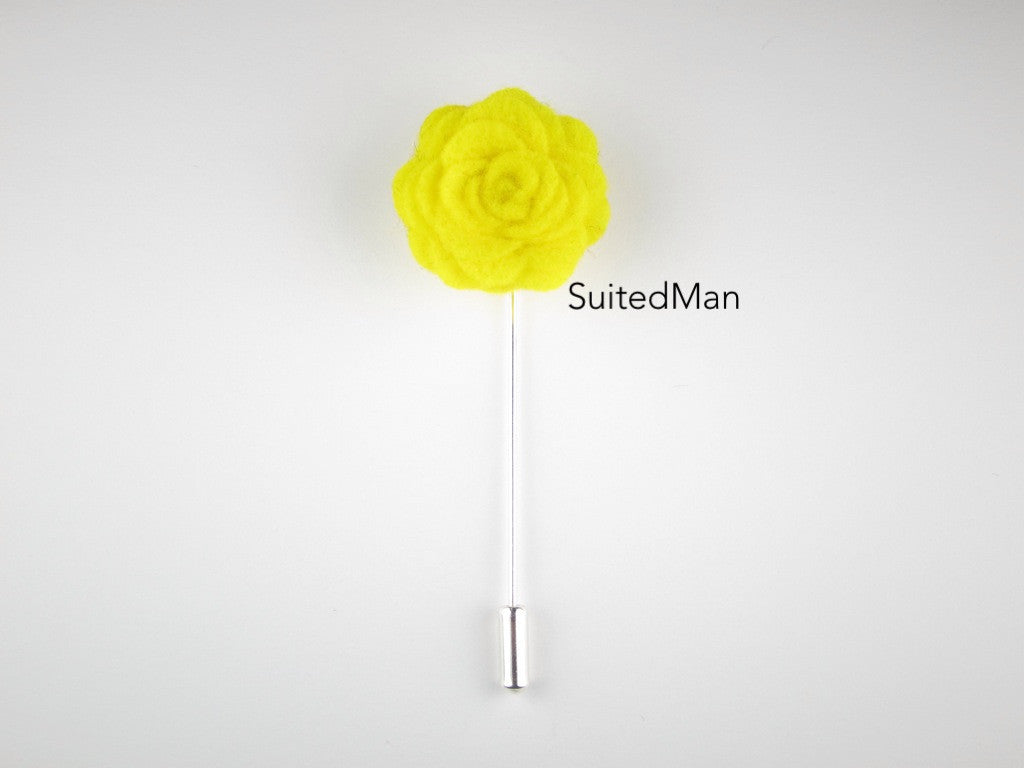 Pin Lapel Flower, Felt, Rosette, Canary Yellow - SuitedMan
