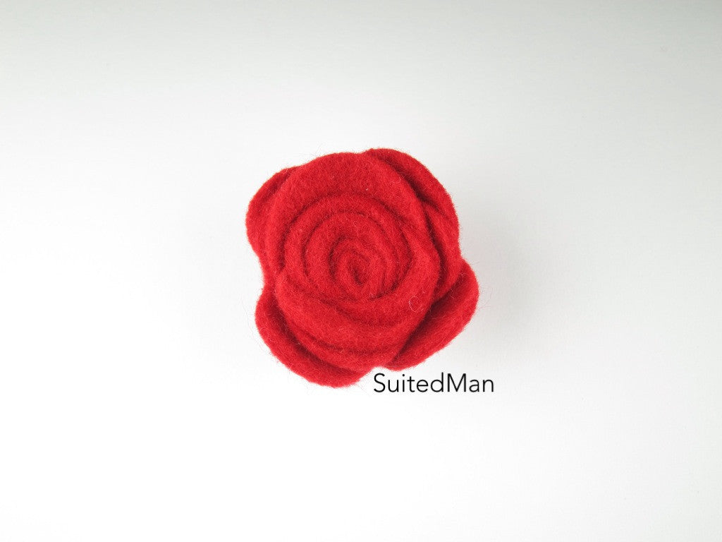 Lapel Flower, Felt, Rose, Red - SuitedMan