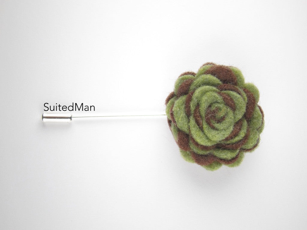 Pin Lapel Flower, Felt, Colorway, Brown/Olive Green - SuitedMan