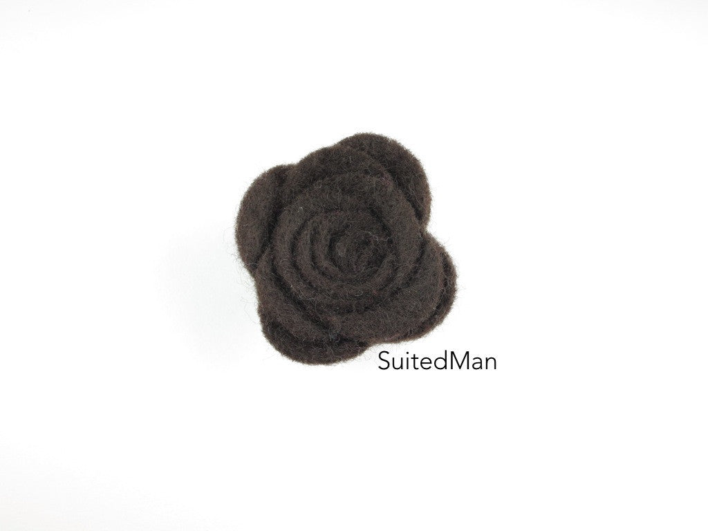 Lapel Flower, Felt, Rose, Brown - SuitedMan