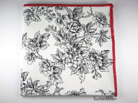 Pocket Square, Black/Red Rose - SuitedMan