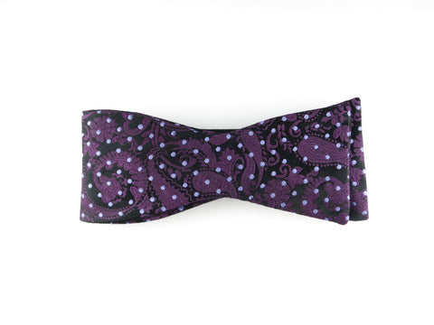 Bow Tie, Pindot Paisley, Purple, Flat End