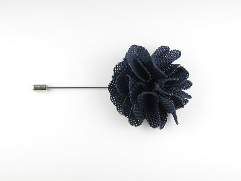 Pin Lapel Flower, Burlap, Navy