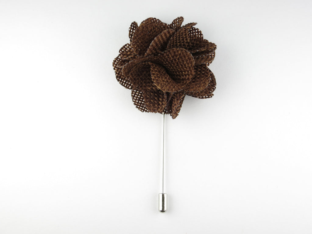 Pin Lapel Flower, Burlap, Burnt Sienna - SuitedMan