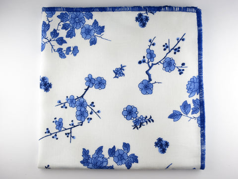 Pocket Square, Blue Porcelain