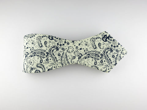 Bow Tie, Paisley Scroll, Navy, Pointed End