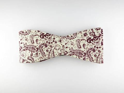 Bow Tie, Paisley Scroll, Burgundy, Flat End - SuitedMan