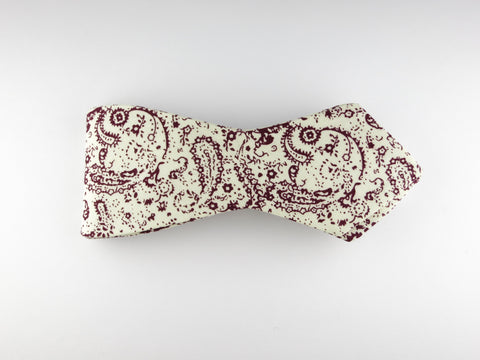 Bow Tie, Paisley Scroll, Burgundy, Pointed End