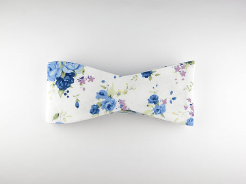 Floral Bow Tie, Bleue Rose, Flat End - SuitedMan