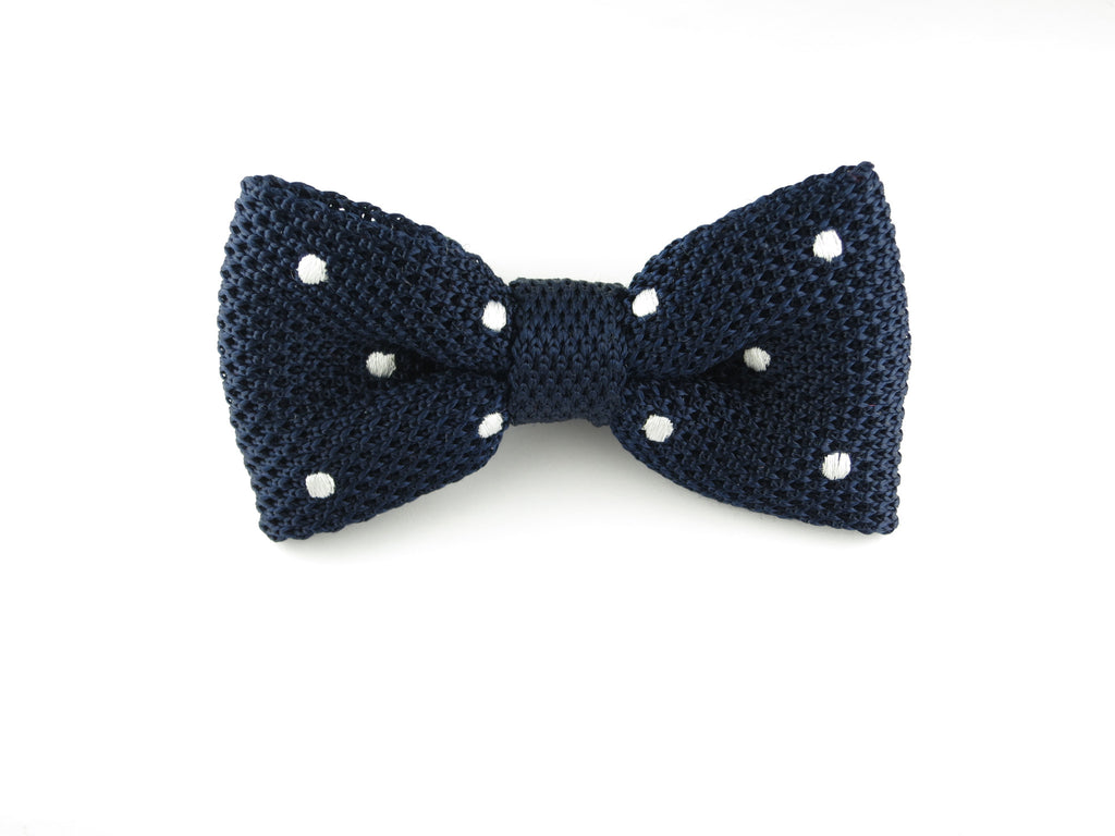 Knit Bow Tie, Polka Dots, Navy/White, Flat End - SuitedMan