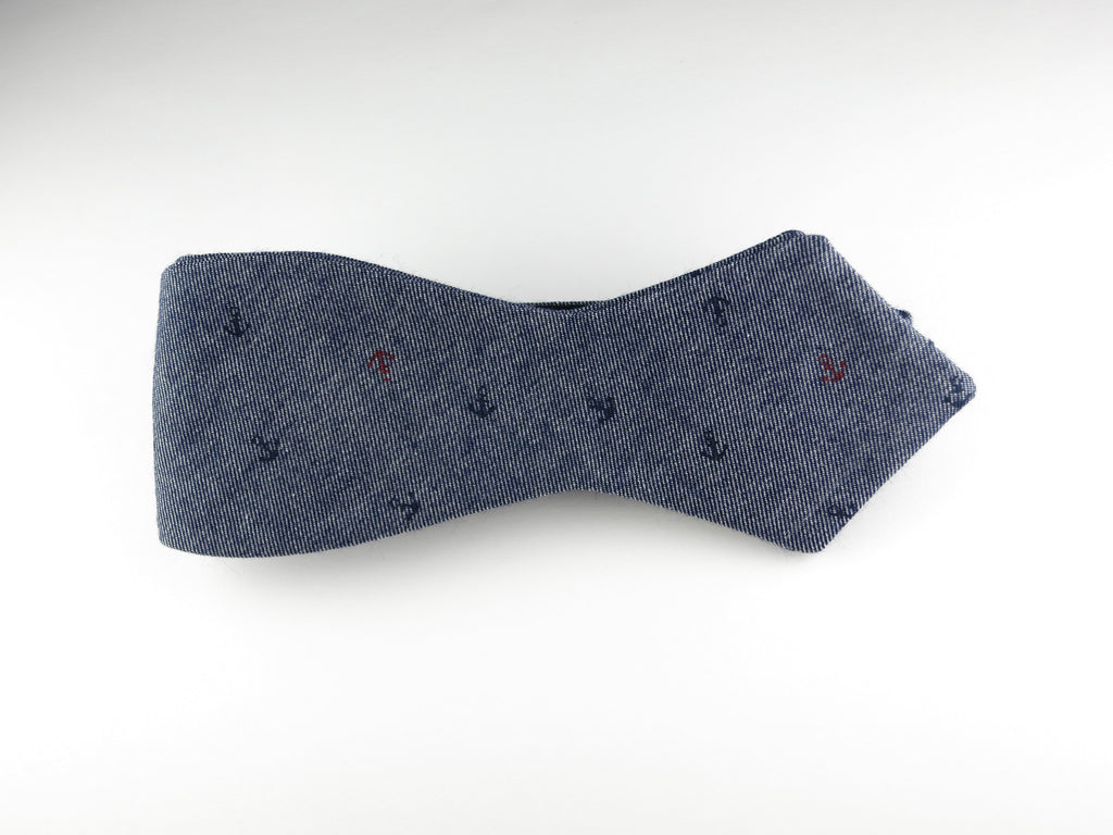 Bow Tie, Blue Chambray Anchors, Pointed End - SuitedMan
