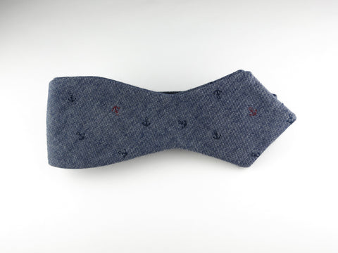 Bow Tie, Blue Chambray Anchors, Pointed End
