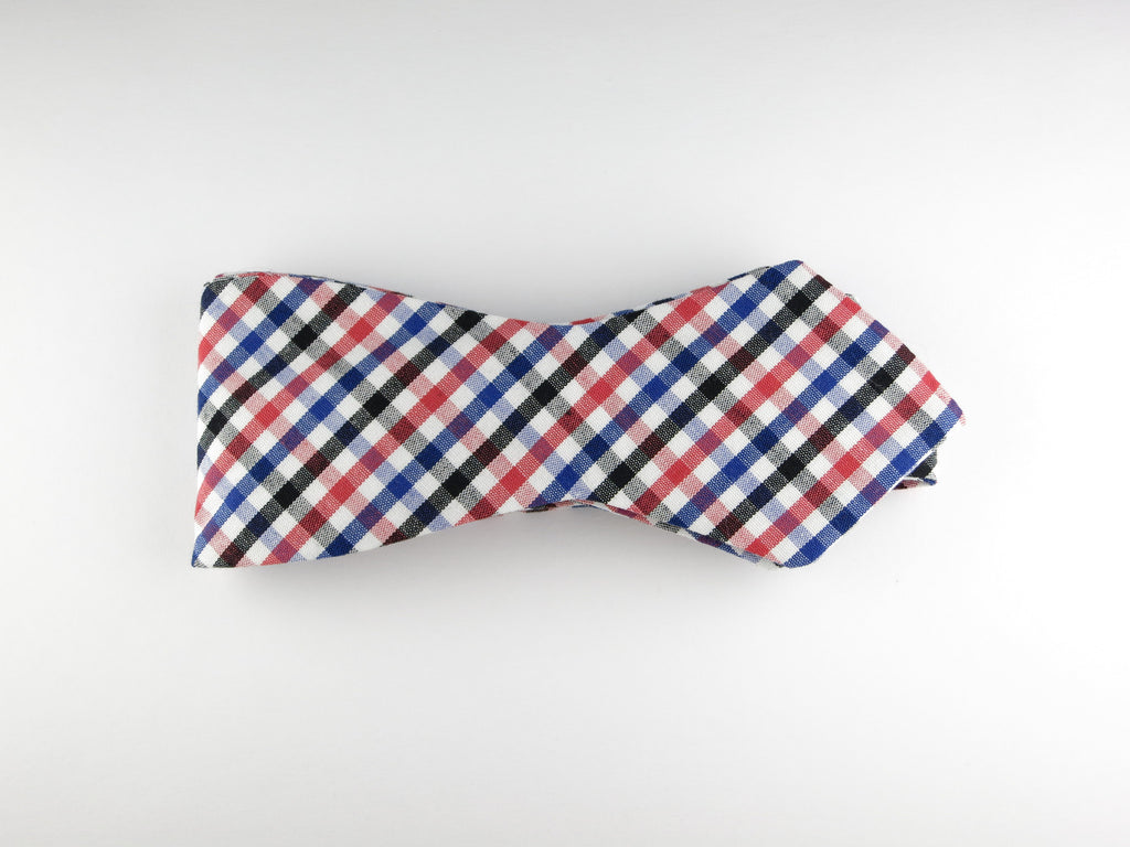 Bow Tie, Gingham, Multicolor, Pointed End - SuitedMan