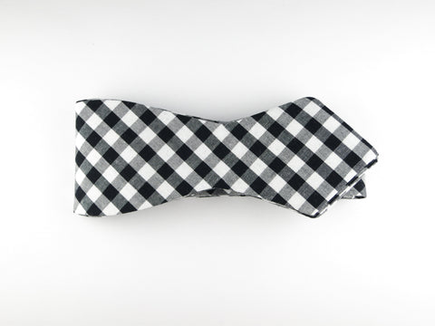 Bow Tie, Gingham, Black, Pointed End