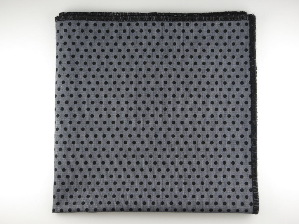 Pocket Square, Polka Dots, Gray/Black - SuitedMan