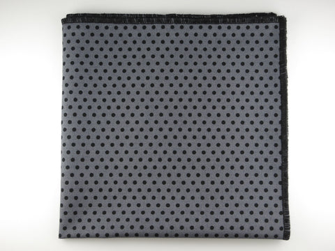 Pocket Square, Polka Dots, Gray/Black