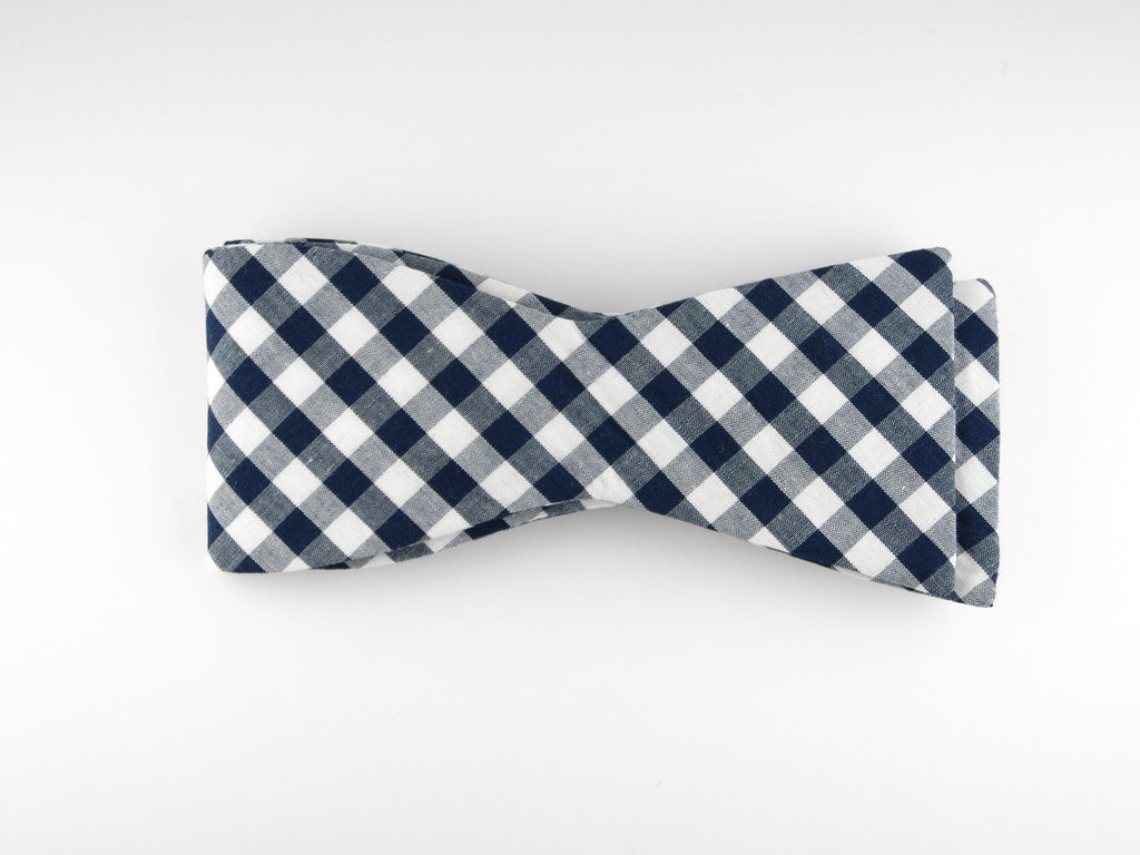 Bow Tie, Gingham, Navy, Flat End - SuitedMan