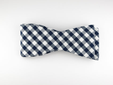 Bow Tie, Gingham, Navy, Flat End