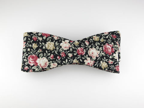 Floral Bow Tie, Rose Noire, Flat End - SuitedMan