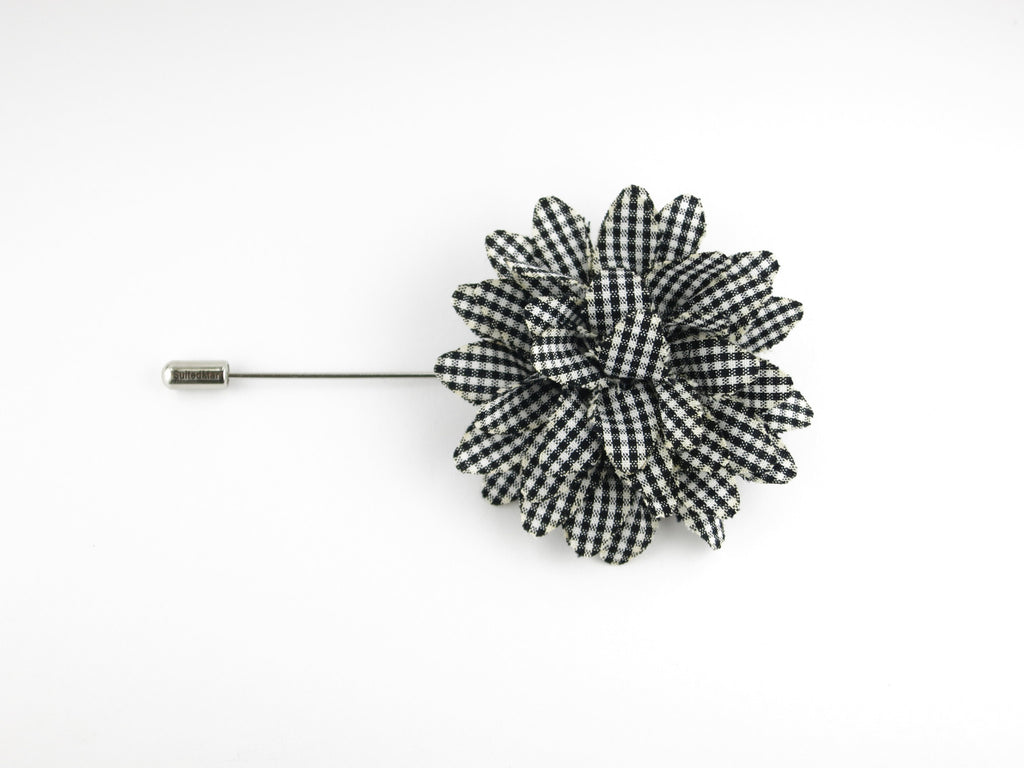 Lapel Flower, Gingham, Black/White - SuitedMan