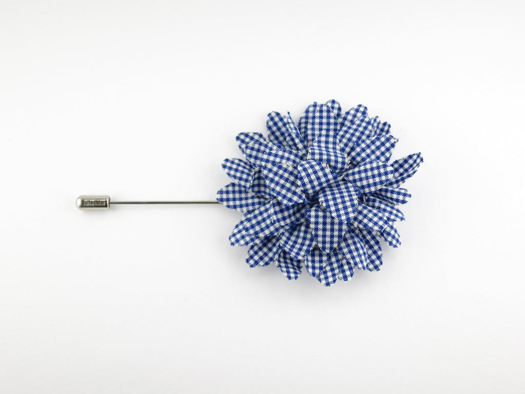 Lapel Flower, Gingham, Blue/White - SuitedMan