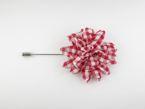Lapel Flower, Seersucker Gingham, Red/White - SuitedMan