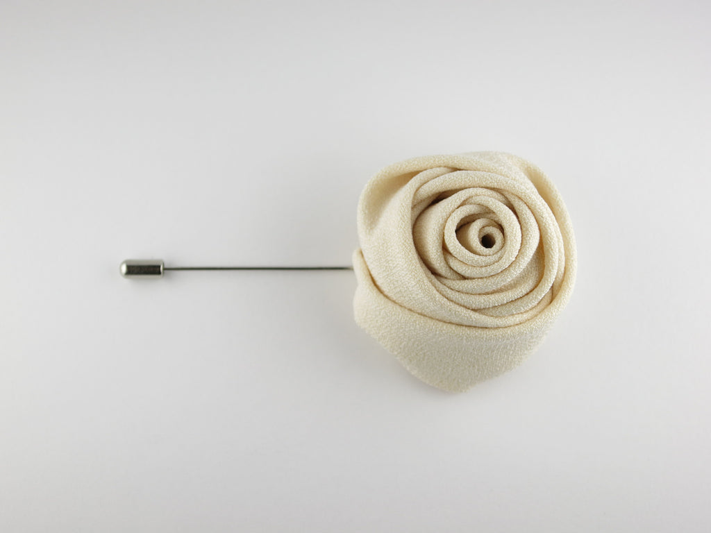 Lapel Flower, Rose, Cream - SuitedMan