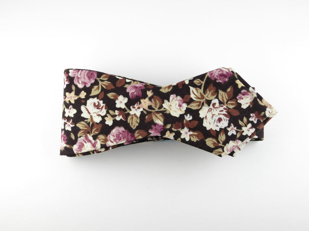 Floral Bow Tie, Chocolate Rose, Pointed End - SuitedMan
