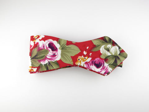 Floral Bow Tie, Red Floral, Pointed End - SuitedMan