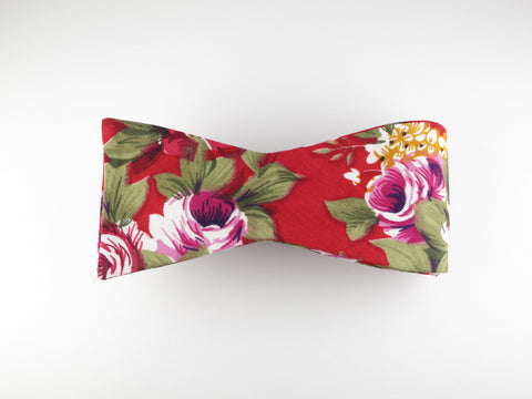 Floral Bow Tie, Red Floral, Flat End - SuitedMan