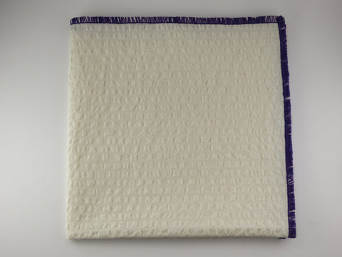 Pocket Square, Seersucker, Antique White/Purple