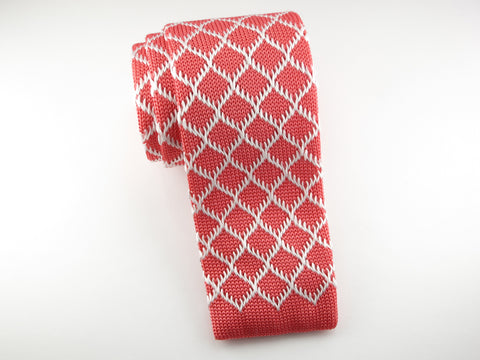 Knit Tie, Coral Diamond - SuitedMan