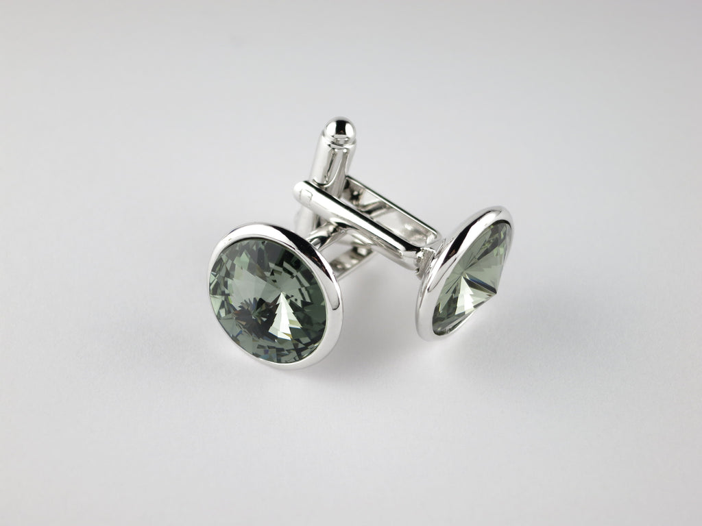 Crystal Cufflinks with Silver Trim, Smoke Diamond - SuitedMan