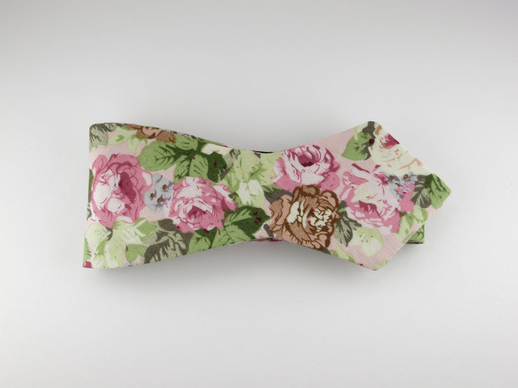Floral Bow Tie, Vintage Pink Floral, Pointed End - SuitedMan