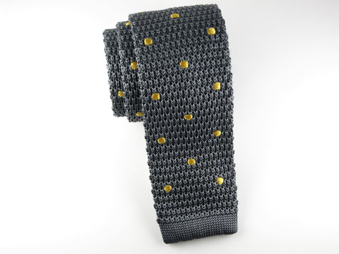 Knit Tie, Polka Dots, Gray/Gold - SuitedMan