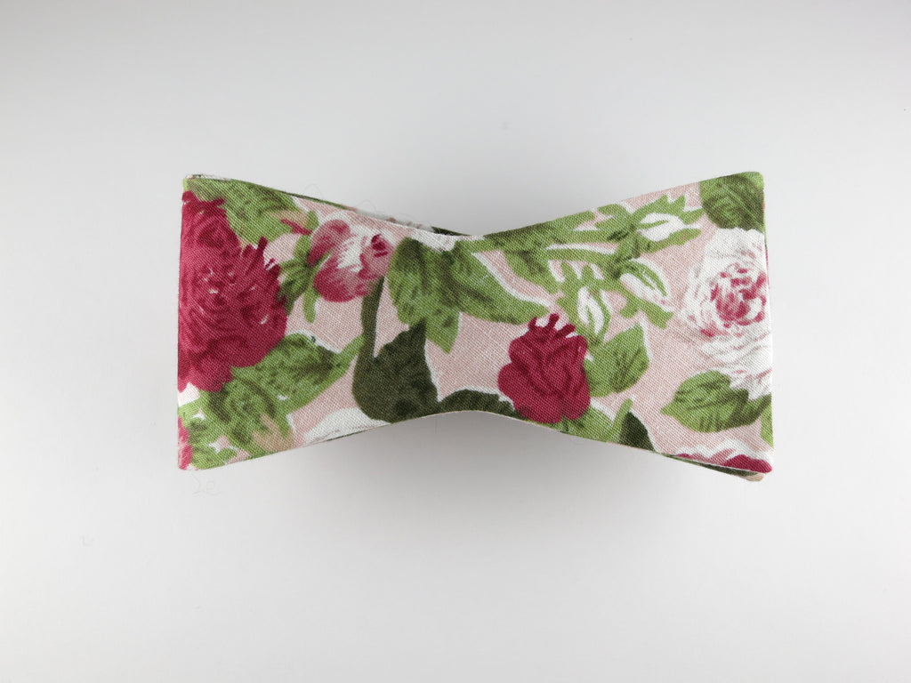 Floral Bow Tie, Shades of Pink, Flat End - SuitedMan