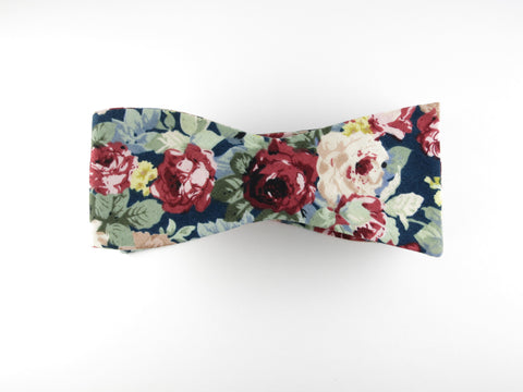 Floral Bow Tie, Navy Red, Flat End - SuitedMan