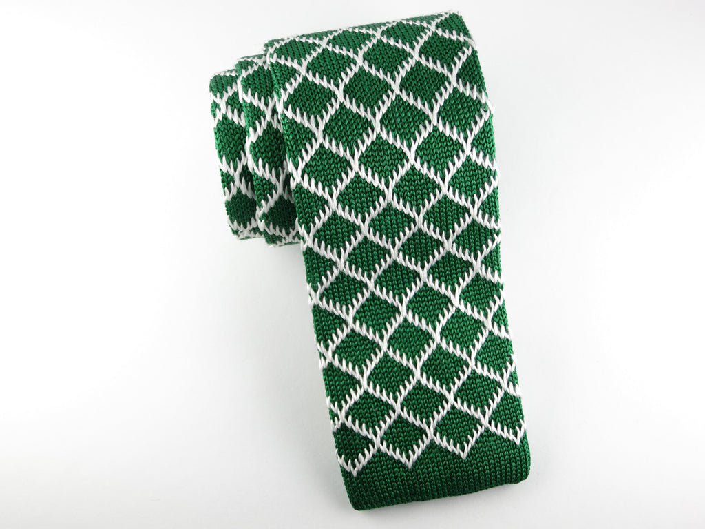 Knit Tie, Green Diamond - SuitedMan